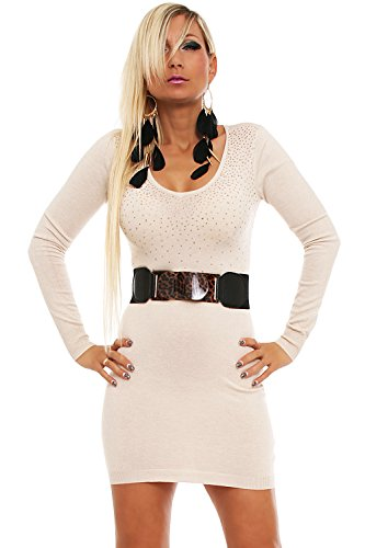 10139 Fashion4Young Damen Strick Minikleid LongPullover Pullover Long Pulli Kleid in 8 Far. Gr 34/36 (34/36, Creme) -