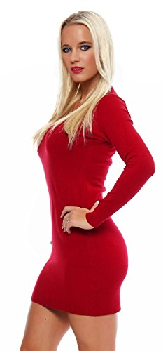 10280 Fashion4Young Damen Feinstrick-Minikleid dress Kleid V-Ausschnitt verfügbar 2 Farben 2 Größen (S/M=34/36, Rot) - 2