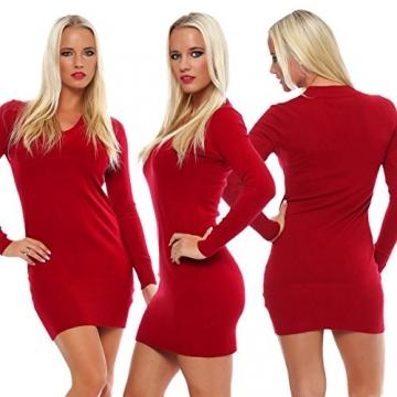 10280 Fashion4Young Damen Feinstrick-Minikleid dress Kleid V-Ausschnitt verfügbar 2 Farben 2 Größen (S/M=34/36, Rot) - 4