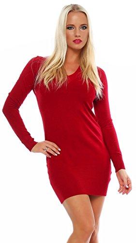10280 Fashion4Young Damen Feinstrick-Minikleid dress Kleid V-Ausschnitt verfügbar 2 Farben 2 Größen (S/M=34/36, Rot) - 1