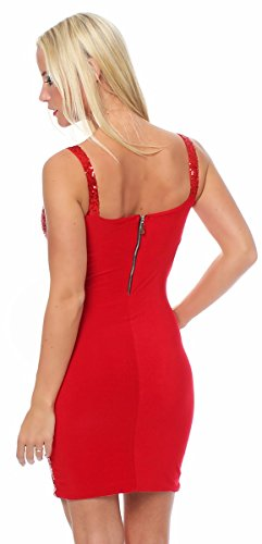 10689 Fashion4Young Damen Glitzer Pailletten Party Silvester Abendkleid Minikleid in vielen Farben (34/36, Rot) - 3