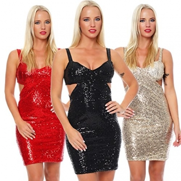 10689 Fashion4Young Damen Glitzer Pailletten Party Silvester Abendkleid Minikleid in vielen Farben (34/36, Rot) - 4