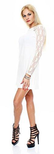 20-01 Mississhop Damen Partykleid Kleid mit Spitzenärmeln A-Linie Creme 2XL - 2