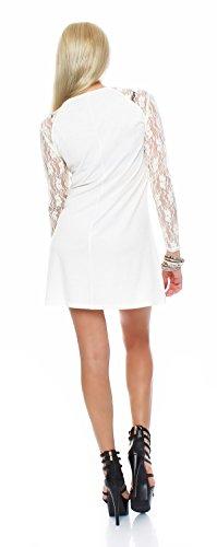 20-01 Mississhop Damen Partykleid Kleid mit Spitzenärmeln A-Linie Creme 2XL - 3