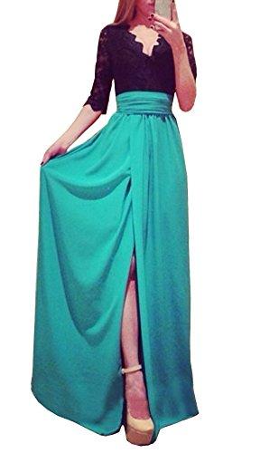 2016 Sommer Damen Spitze Spleißen Chiffon Kleid 3/4-Arm Tief V Ausschnitt Brautkleid Festkleid Party Cocktail Abendkleid mit Schlitz, Azurblau, EU38-40 -
