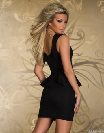 Blansdi Sexy Low cut Minikleid Abendkleid cut out peplum Cocktailkleid Business Kleid Dress Schwarz - 3