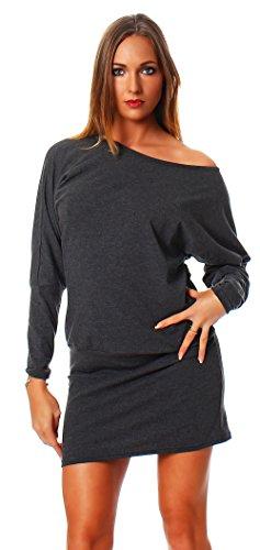 Fab Mississhop Damen Kleid Minikleid Langarmshirt Longshirt Pulli Tunika Graphit S - 1