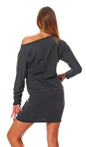 Fab Mississhop Damen Kleid Minikleid Langarmshirt Longshirt Pulli Tunika Graphit S - 3