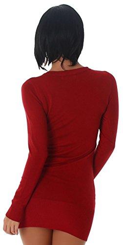 Jela London Damen Strickkleid & Pullover mit Schnüroptik am Dekolletè Einheitsgröße (34-38), dunkelrot - 4