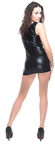 jowiha® Minikleid Damen Lack - Leder Optik Kleid mit Schnürungen und Reißverschluss vorne Einheitsgröße 36-38 - 3