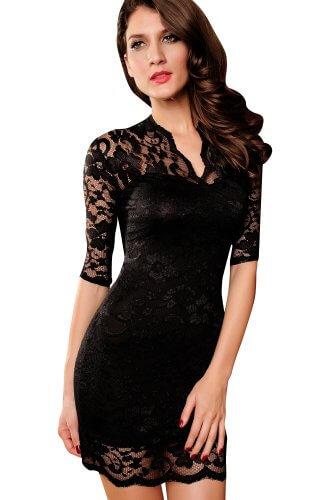 jowiha Sexy Mini Stretch Kleid mit Spitze 1/2 Arm in Schwarz Einheitsgröße S-M/L (Schwarz) - 1