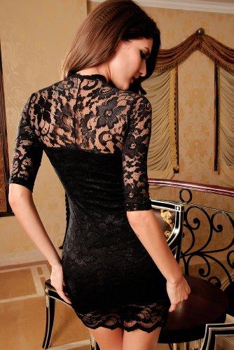 jowiha Sexy Mini Stretch Kleid mit Spitze 1/2 Arm in Schwarz Einheitsgröße S-M/L (Schwarz) - 2