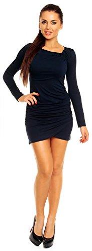 Zeta Ville- Damen - Longshirt Mini-Kleid Tunika Top - Langarm - Raffungen - 941z (Marine, 46) - 2