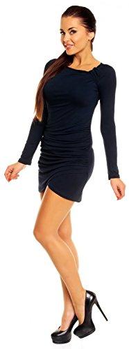 Zeta Ville- Damen - Longshirt Mini-Kleid Tunika Top - Langarm - Raffungen - 941z (Marine, 46) - 3