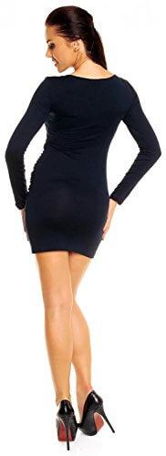 Zeta Ville- Damen - Longshirt Mini-Kleid Tunika Top - Langarm - Raffungen - 941z (Marine, 46) - 4
