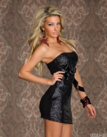 3919# Trägerloses Bandeau-Minikleid Kleid robe dress Gr. 34 36 (Schwarz 3919) - 3