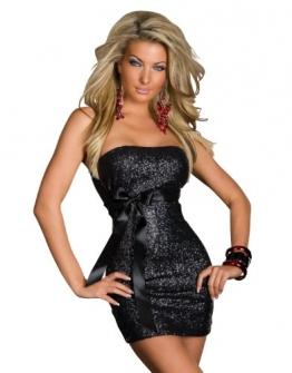 3919# Trägerloses Bandeau-Minikleid Kleid robe dress Gr. 34 36 (Schwarz 3919) - 1