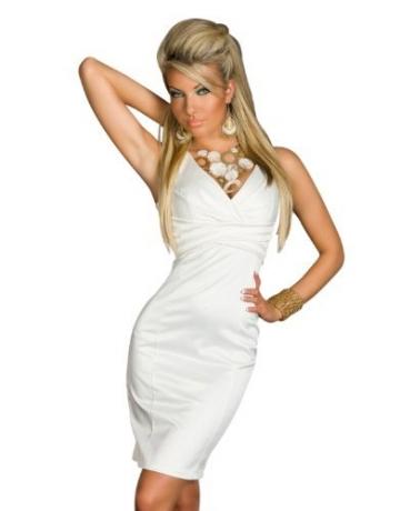 3963 Tailliertes Träger-Minikleid robe dress in 3 Farben und Gößen verfügbar (S36, Weiß 3963-2) -