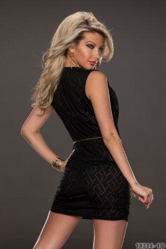 3972 Fashion4Young Damen Ärmelloses Minikleid Lochmuster + Gürtel verfügbar in 8 Farben Gr. 36/38 (36/38, Schwarz) -