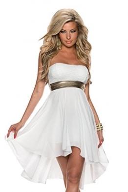 4081 Fashion4Young Damen Vokuhila Cocktailkleid Mini kleid dress verfügbar in 4 Farben Gr. 36/38 (36/38, Weiß) -