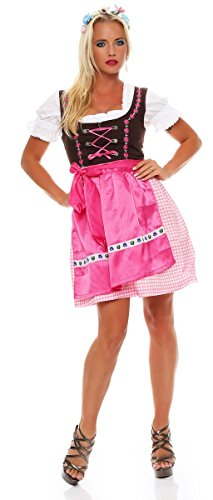 4211 Fashion4Young Dirndl 3 tlg.Trachtenkleid Kleid Mini Bluse Schürze Trachten Oktoberfest (40, Pink Braun) -