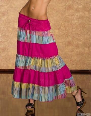 4222 Knielanges Neckholder-Kleid Maxirock 3 Farben zur wahl Gr. 34 36 38 (Pink/Multicolor 4222-1) - 2