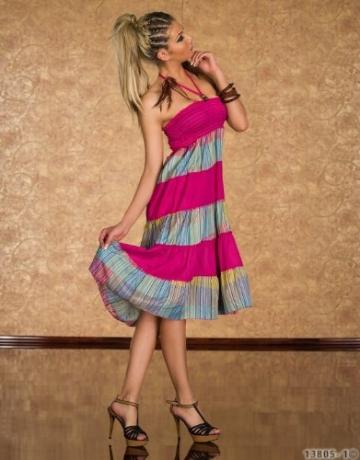 4222 Knielanges Neckholder-Kleid Maxirock 3 Farben zur wahl Gr. 34 36 38 (Pink/Multicolor 4222-1) - 3