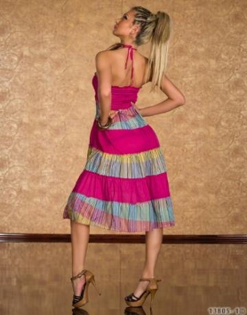 4222 Knielanges Neckholder-Kleid Maxirock 3 Farben zur wahl Gr. 34 36 38 (Pink/Multicolor 4222-1) - 4
