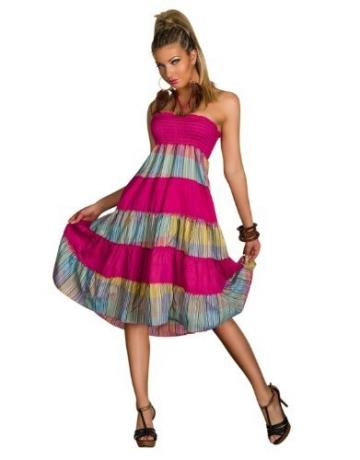 4222 Knielanges Neckholder-Kleid Maxirock 3 Farben zur wahl Gr. 34 36 38 (Pink/Multicolor 4222-1) - 1