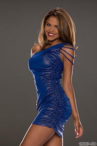 4265 Fashion4Young Damen tailliertes One-Shoulder-Minikleid Kleid verfügbar in 3 Farben Gr. 34/36 (34/36, Dunkelblau Gold) - 2