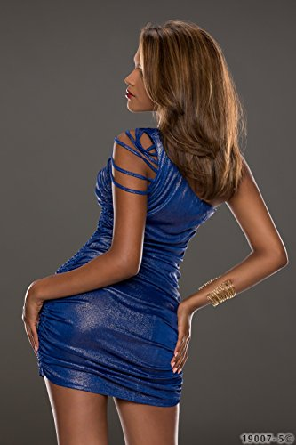 4265 Fashion4Young Damen tailliertes One-Shoulder-Minikleid Kleid verfügbar in 3 Farben Gr. 34/36 (34/36, Dunkelblau Gold) - 3