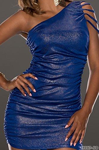 4265 Fashion4Young Damen tailliertes One-Shoulder-Minikleid Kleid verfügbar in 3 Farben Gr. 34/36 (34/36, Dunkelblau Gold) - 4