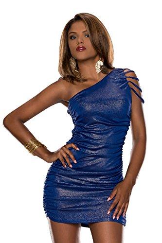 4265 Fashion4Young Damen tailliertes One-Shoulder-Minikleid Kleid verfügbar in 3 Farben Gr. 34/36 (34/36, Dunkelblau Gold) - 1
