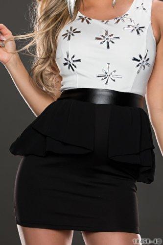 4337 Fashion4Young Damen Träger-Schößchen-Minikleid Kleid dress verfügbar in 3 Farben 2 Größen (M = 38, Weiß Schwarz) - 5