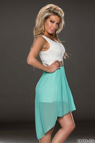 4370 Fashion4Young Damen Kleid aus Chiffon Vokuhila-Styl Minikleid dress verfügbar in 5 Farben 36/38 (36/38, Türkis Weiß) - 2