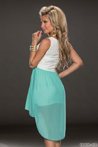 4370 Fashion4Young Damen Kleid aus Chiffon Vokuhila-Styl Minikleid dress verfügbar in 5 Farben 36/38 (36/38, Türkis Weiß) - 3