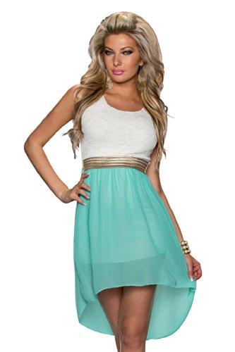 4370 Fashion4Young Damen Kleid aus Chiffon Vokuhila-Styl Minikleid dress verfügbar in 5 Farben 36/38 (36/38, Türkis Weiß) - 1