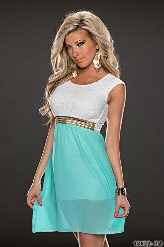 4380 Fashion4Young Damen Tailliertes, ärmelloses Minikleid Kleid dress verfügbar in 3 Farben 36/38 (36/38, Türkisgrün Weiß) - 2