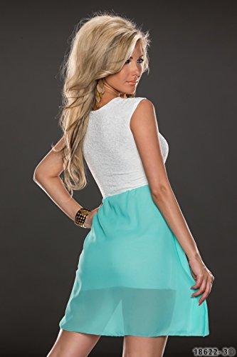 4380 Fashion4Young Damen Tailliertes, ärmelloses Minikleid Kleid dress verfügbar in 3 Farben 36/38 (36/38, Türkisgrün Weiß) - 3
