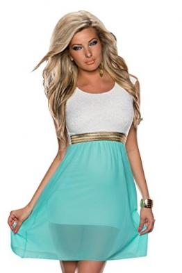 4380 Fashion4Young Damen Tailliertes, ärmelloses Minikleid Kleid dress verfügbar in 3 Farben 36/38 (36/38, Türkisgrün Weiß) - 1