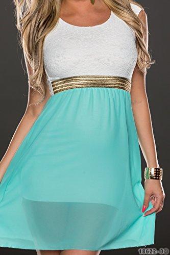 4380 Fashion4Young Damen Tailliertes, ärmelloses Minikleid Kleid dress verfügbar in 3 Farben 36/38 (36/38, Türkisgrün Weiß) - 4