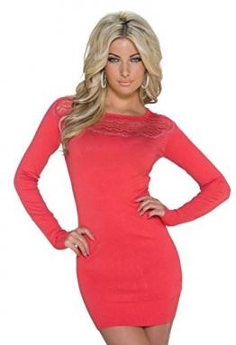 4410 Fashion4Young Damen Strick Minikleid LongPullover Pullover Pulli Kleid in 5 Farben 2 Größen (L/XL 38/40, Lachs) - 1