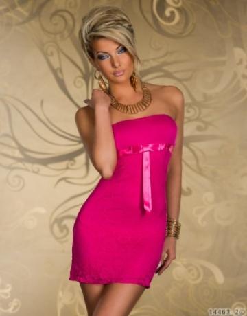 4501-3 Trägerloses Bandeau-Minikleid Spitze dress robes Gr. 34 36 in 4 Farben verfügbar (Pink 4501-2) - 2
