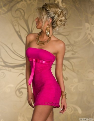 4501-3 Trägerloses Bandeau-Minikleid Spitze dress robes Gr. 34 36 in 4 Farben verfügbar (Pink 4501-2) - 3