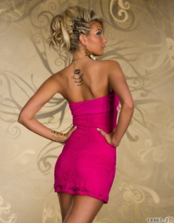 4501-3 Trägerloses Bandeau-Minikleid Spitze dress robes Gr. 34 36 in 4 Farben verfügbar (Pink 4501-2) - 4