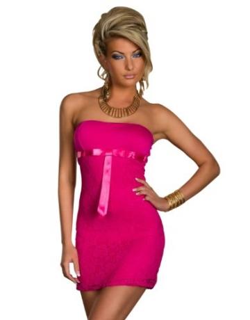 4501-3 Trägerloses Bandeau-Minikleid Spitze dress robes Gr. 34 36 in 4 Farben verfügbar (Pink 4501-2) - 1