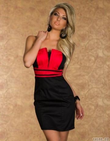 4582 Trägerloses Bandeau-Minikleid robes dress (M38, Rot Schwarz 4582-2) - 2