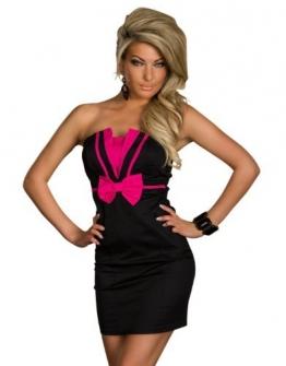 4583 Trägerloses Bandeau-Minikleid robes dress (S36, Pink Schwarz 4583-2) - 1