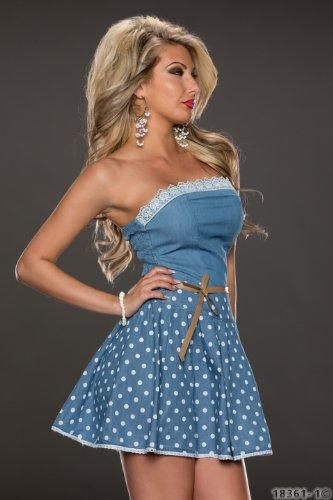 4593 Fashion4Young Damen tailliertes Bandeau Minikleid mit Gürtel Kleid dress verfügbar in 2 Farben (L = 40, Blue indigo) - 2