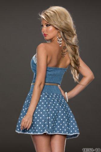 4593 Fashion4Young Damen tailliertes Bandeau Minikleid mit Gürtel Kleid dress verfügbar in 2 Farben (L = 40, Blue indigo) - 3